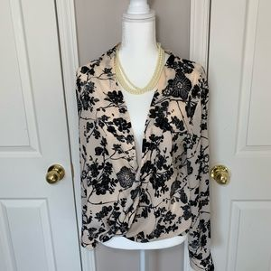New York and company black cherry blossom blouse